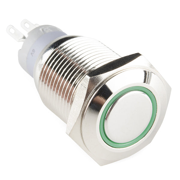 Rugged Metal Pushbutton with Green LED Ring - 16mm Green Momentary Wholesale