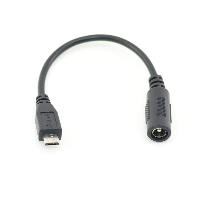Micro USB Plug to 5.5/2.1mm DC Barrel Jack Adapter