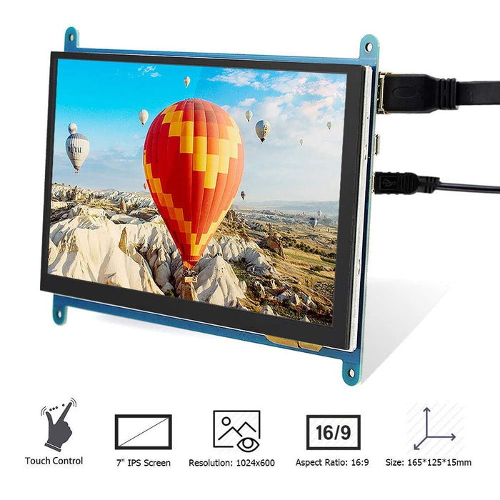 7 Inch 1024X600 HDMI LCD Screen with Touch Function for Raspberry Pi B+/2B  3B
