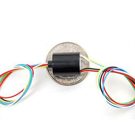 Odseven Miniature Slip Ring - 12mm Diameter-6 Wires- Max 240V @ 2A