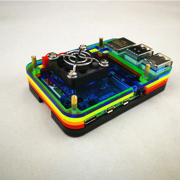 Odseven Raspberry Pi 4 Model B Case with Cooling Fan Mount - Rainbow