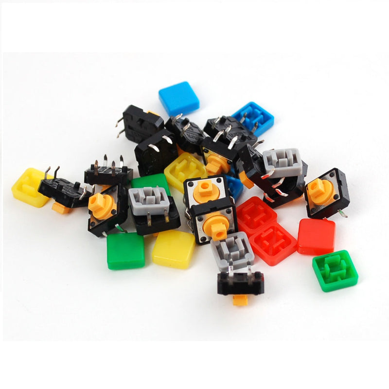 Odseven Colorful Square Tactile Button Switch Assortment - 15 pack