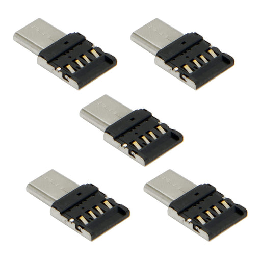 5pcs Ultra Mini Type-C USB-C to USB 2.0 OTG Adapter for Cell Phone Tablet & USB Cable & Flash Disk