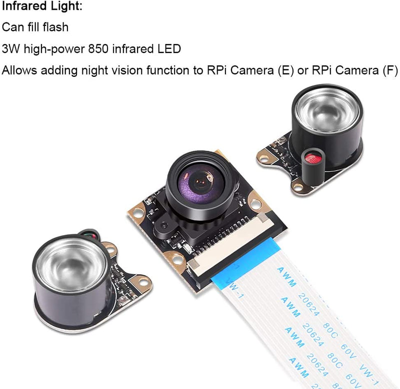 Raspberry Pi 4B Camera Module Night Vision Camera Fisheye 100 FOV