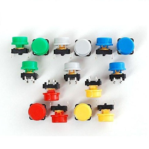 Odseven Colorful Round Tactile Button Switch Assortment - 15 pack