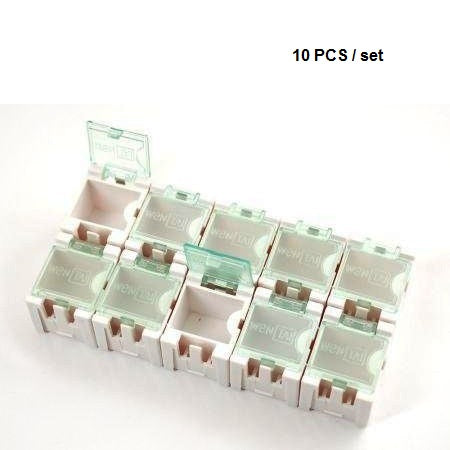 Odseven Tiny Modular Snap Boxes - SMD Component Storage - 10 Pack - White
