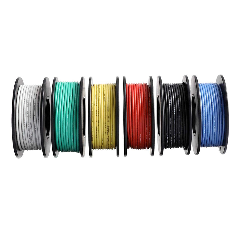 Odseven Hook-up Wire Spool Set - 22AWG Stranded-Core - 6 x 25ft