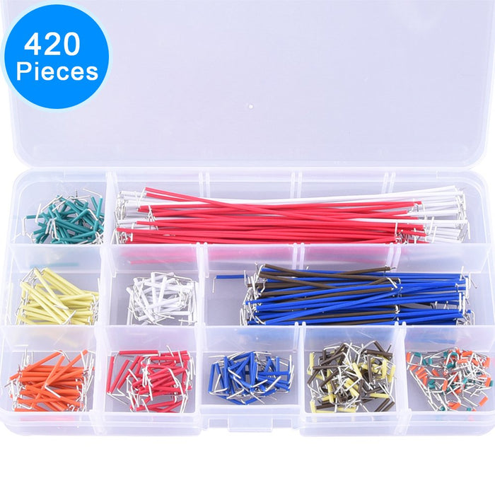 Odseven 420 Pieces Preformed Breadboard and 14 Lengths Assorted Jumper Wire Kit