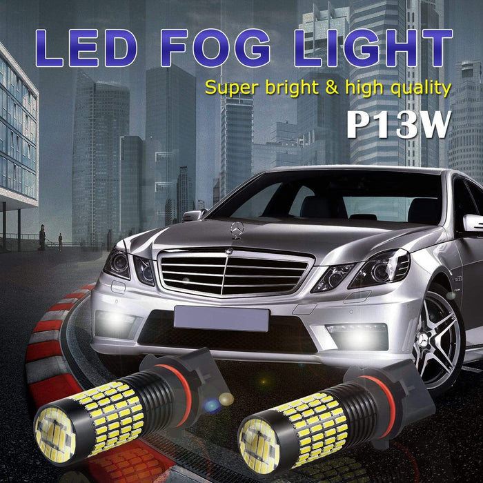 6000K Xenon White 102-SMD LED DRL/Fog Lights with Projector for socket P13W 4014