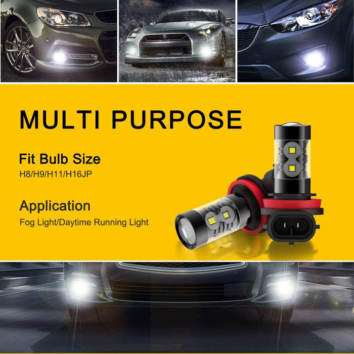 AUXITO H11 2800LM/Set H8 H9 LED Fog Light Bulb and DRL, 10 SMDs 6000K White