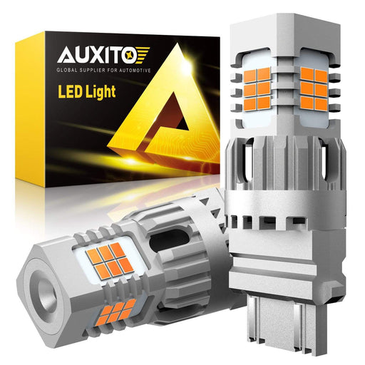 AUXITO 3157 3156 LED Turn Signal Light Bulbs Error Free Canbus Ready High Power 3056 3057 4157 LED Bulbs Blinker Light 25W Per Bulb Amber Yellow Pack of 2