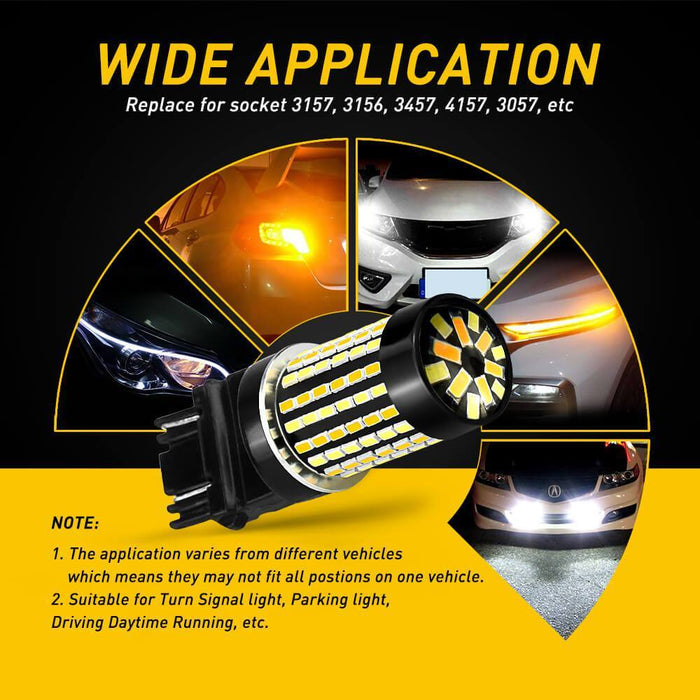 AUXITO 3157 Dual Color Switchback White/Amber DRL Turn Signal Light 120-SMD LED Bulb