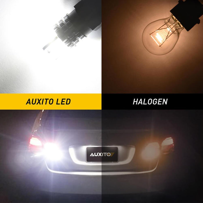 AUXITO-3157-LED-Back-Up-Reverse-Light-Bulbs, Super Bright Cross Head 360 Degree Lighting 3030SMD 3156 3047 3056 305 4114 LED Bulbs for Car Backup Reverse Light Turn Signal Brake Tail DRL Light, 2-Pack