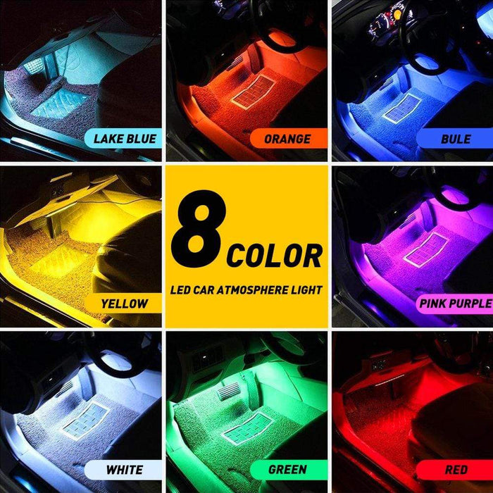 AUXITO 4PCS Car USB 36 LED RGB Lights Strip Interior Atmosphere Neon Lamp + IR Remote
