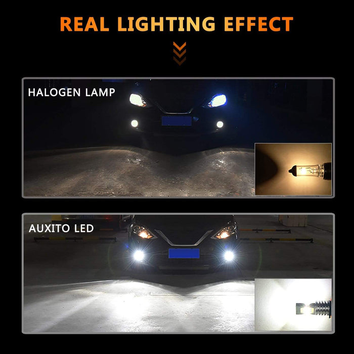 AUXITO 5202 H16 LED Fog Light Bulbs Super Bright 6000K Xenon White H16 LED Fog Lamp for Fog Lights or DRL
