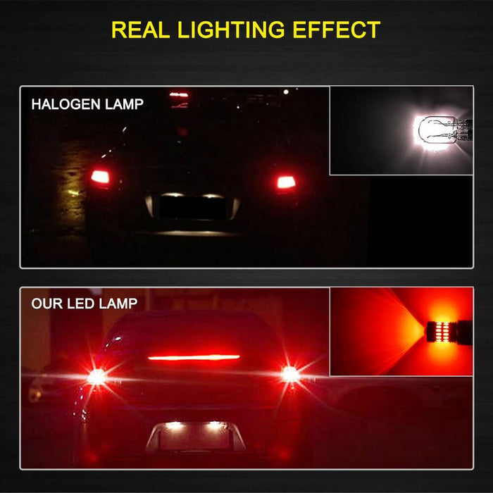 AUXITO Brilliant Red 7443 LED Bulbs Extremely Bright 48-SMD 4014 LED Chipsets 7440 7441 7444 992 W21W LED Bulbs with Projector for Brake Lights