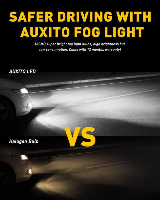 AUXITO For 2018-2019 Ford F150 LED Fog Light Bulbs Max 80W High Power Extremely Bright 1800 Lumens 6500K Xenon White Replace for Fog Light or DRL