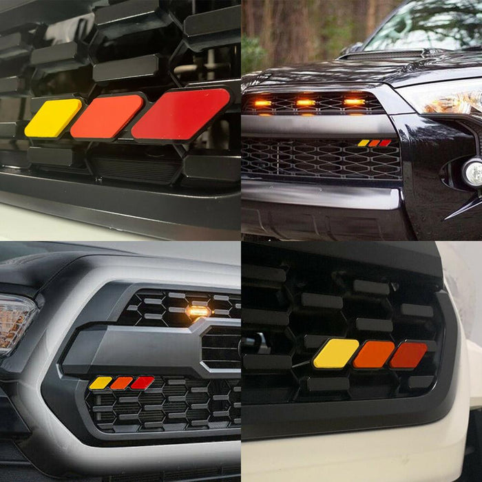 AUXITO For Toyota Tacoma 4Runner Tundra Tri-color 3 Grille Badge EMBLEM