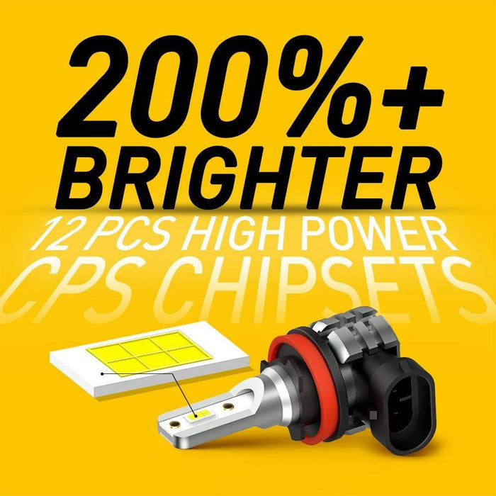 AUXITO H11 H8 H9 100W LED White High Power No Polarity Fog Light Conversion DRL Bulbs 6000K