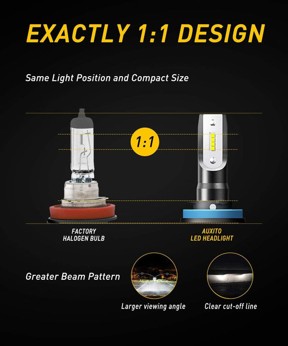 AUXITO H11 H8 H9 LED Headlight Bulb Fanless All-in-one Conversion Kit 9000 Lumens High Low Beam Headlights Fog Lights 6500K Xenon White