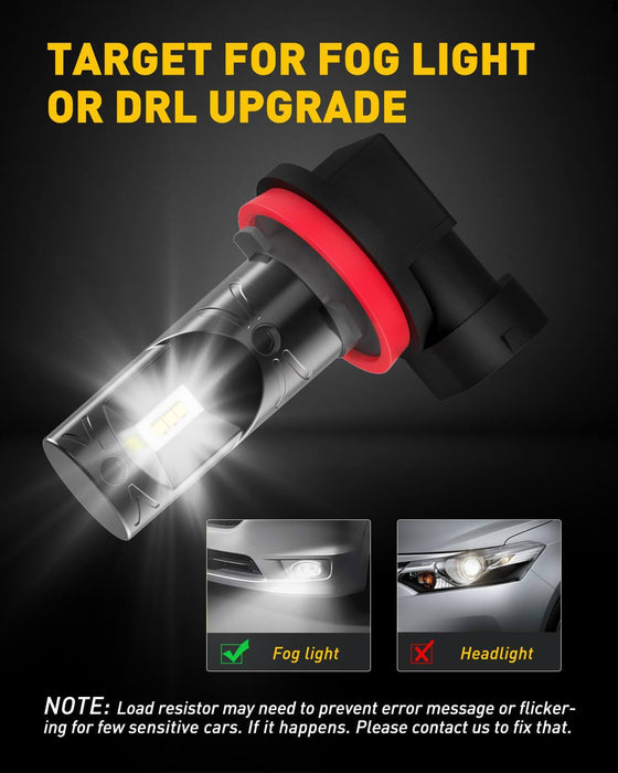 AUXITO H11 LED Fog Light H8 H9 H16 LED Bulbs 1:1 Halogen Bulb Design with Super Bright CSP Chips