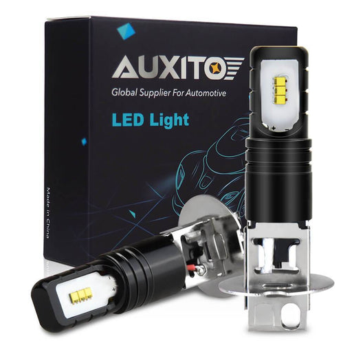 AUXITO H3-LED-Fog-Light Bulbs Super Bright H3-LED-Bulbs with CSP Chips for Fog Lights or Day Time Running Light 6000K Cool White