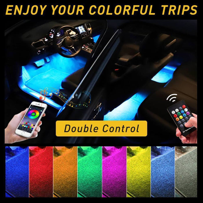 Car LED Strip Lights, Multi-Coloured Music Car Interior Lights Under Dash Lighting Kit, RF Remote with 16 Fix Colors and APP Control, Sound Active Function