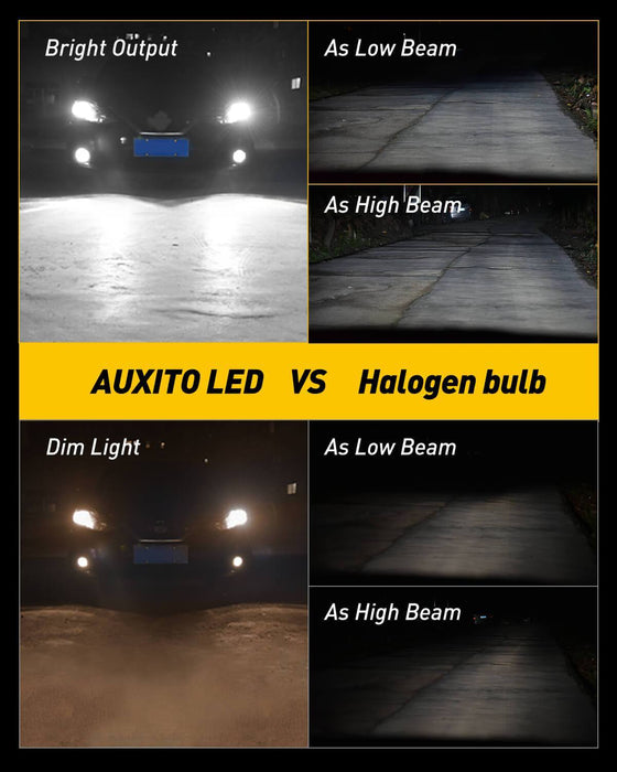 H4 LED Headlight Bulbs Conversion Kit - AUXITO H4 9003 Replacement Lamps 6000K Xenon White 12000lm Extremely Bright