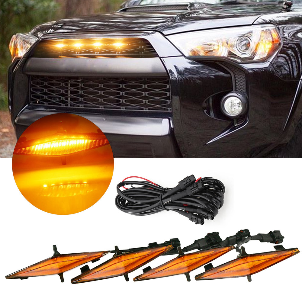 LED Grille Lights Amber with Fuse Compatible with Toyota 4Runner TRD Pro Grille 2014-2019
