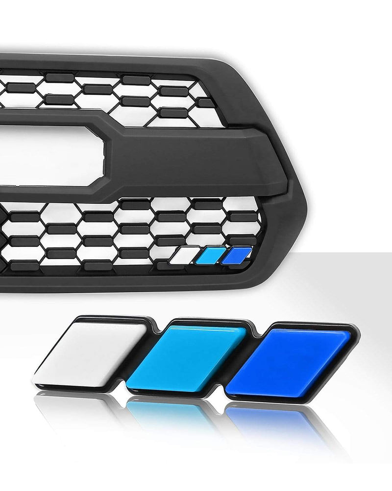 Tri-color Grille Badge Emblem Car Truck Label Fit for Tacoma 4Runner Tundra Sequoia Rav4 Highlander (White, Blue, Dark Blue)