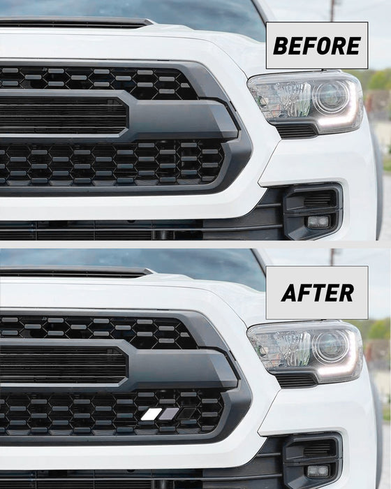 Tri-color Grille Badge Emblem Decoration Accessories Car Truck Label Fit for Tacoma 4Runner Tundra Sequoia Rav4 Highlander (White, Light Gray, Dark Gray)