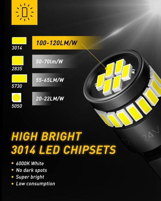 UXITO 194 LED Light Bulb 6000K White 168 2825 W5W T10 Wedge 24-SMD 3014 Chipsets Error Free