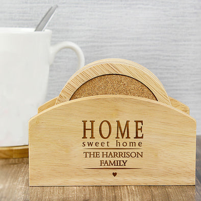 Personalised Home Sweet Home Coaster Set