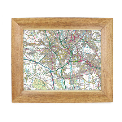 Personalised Postcode Map 10x8 Wooden Frame - Present Day