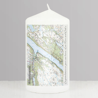 Personalised Present Day Map Candle