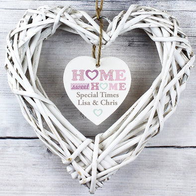 Personalised Floral Design Home Sweet Home Wicker Heart