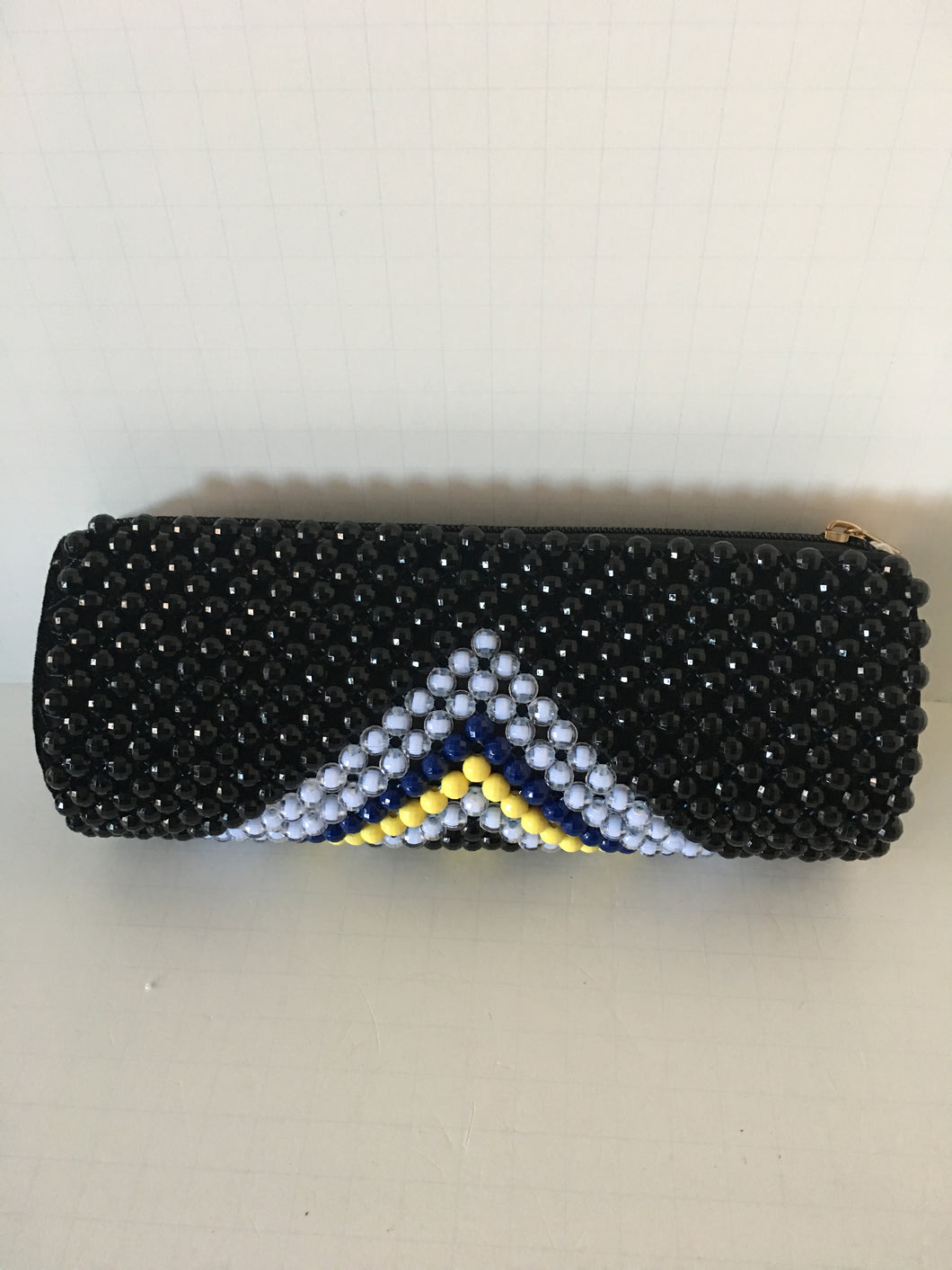 Black, White and Yellow Color Beaded Clutch