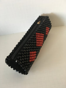 Red and Black Color Beaded Clutch