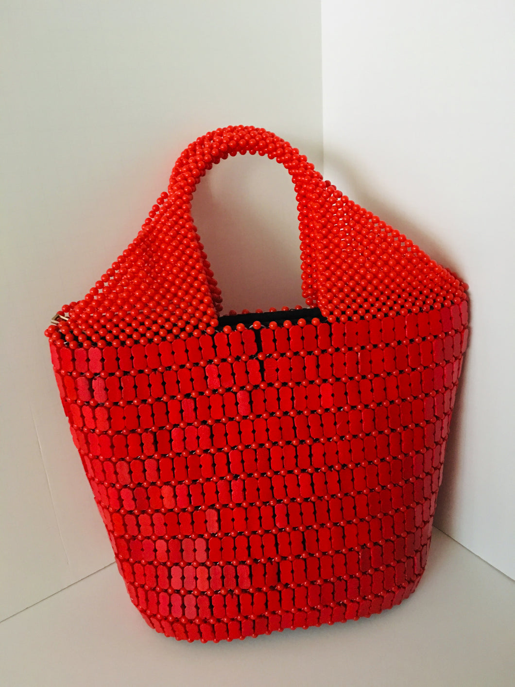 Solid Red Handcrafted Beaded Handbag