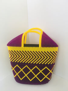 Lavender and yellow color Handcrafted Beaded Handbag