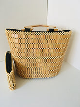 Beige color Handcrafted Beaded Purse with Wooden Handles