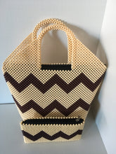 Off White and Coffee Brown HandCrafted Beaded Handbag