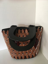 Brown and Animal print with Black handles Handcrafted bag.