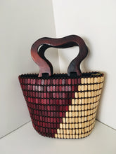 Coffee Brown and Cream Color Beaded Handbag with Wooden Handles.