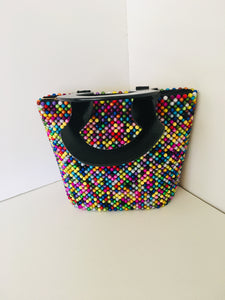 Multiple colors Handcrafted Beaded Handbag with Wooden Handles.