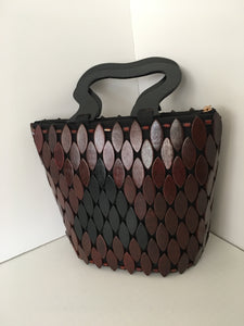 Coffee Brown and Black Color HandCrafted Wooden Handbag.