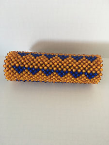 Gold and blue beaded clutch