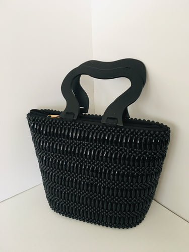 Solid Black HandCrafted Beaded Handbag with Wooden Handles.