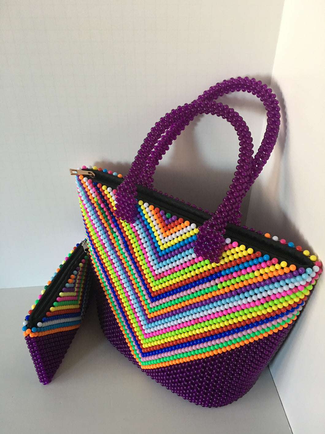 Purple and Multiple Color Beaded Handbag