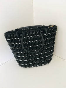 Solid Black and Silver Beaded HandCrafted Handbag with Plastic Handles.